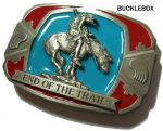 END OF THE TRAIL - INDIAN ON HORSEBACK Belt Buckle + display stand